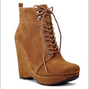Michael Kors wedge lace up booties